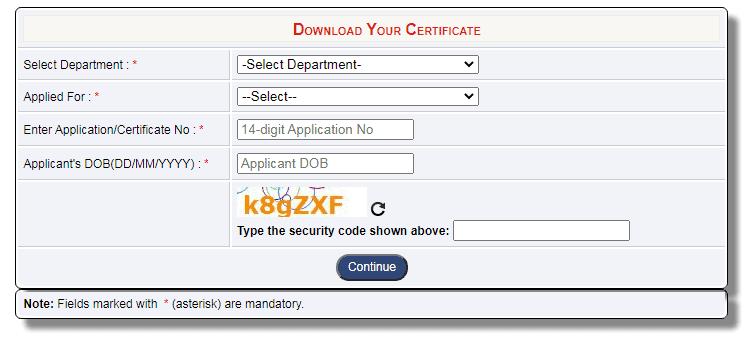 Delhi e district Download Your Certificate