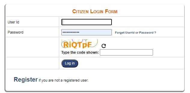 e district delhi citizen login form