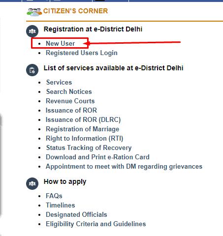 e district delhi new user registration