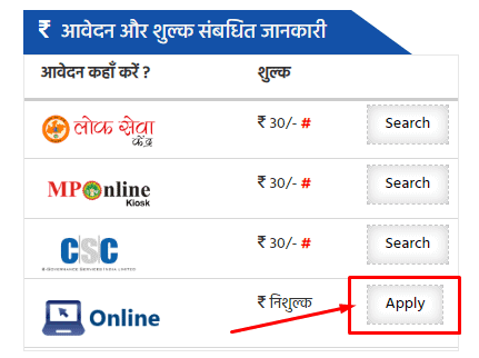mp income certificate apply online